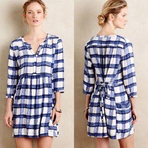 Maeve Anthro Plaid Blue Tie Back Devery Dress